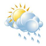 Partly sunny, a couple of showers; cooler